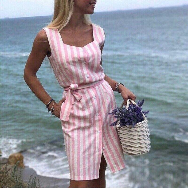 Vestido de la camisa de la raya de las mujeres 2018 verano nuevo cuello cuadrado sin mangas cinturón vestidos elegantes vestido de fiesta de la playa de la raya azul rosa