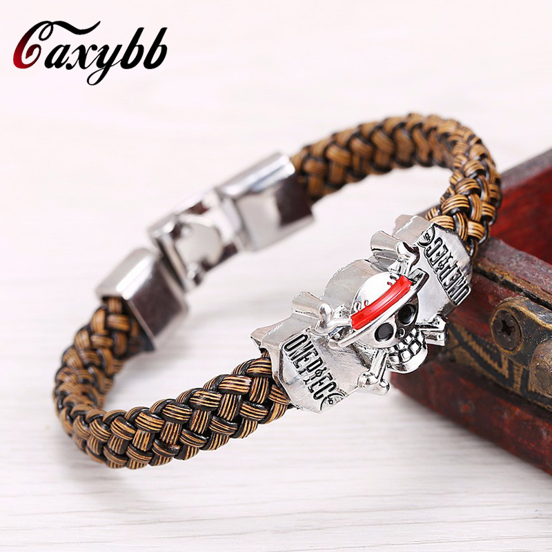 Hot font b Anime b font One Piece Luffy flagship straw hat Skeleton Logo weave leather