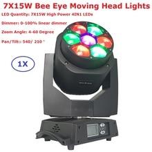 2018 новая пчела глаз перемещение головы луч света 7×15 Вт RGBW 4in1 Профессиональный этапа мыть огни ЖК-дисплей Дисплей 4-60 градусов увеличить угол