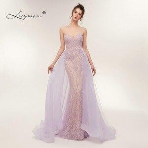 Image 1 - משלוח חינם כבד חרוזים סקסי חצוצרת שמלת ערב 2020 לפתוח בחזרה שרוולים קריסטלים נוצצים נשף שמלת תפור לפי מידה