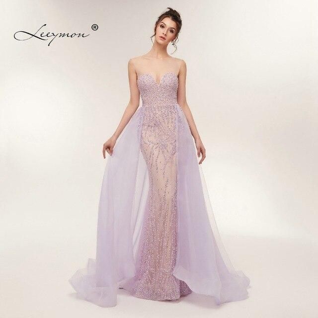 משלוח חינם כבד חרוזים סקסי חצוצרת שמלת ערב 2020 לפתוח בחזרה שרוולים קריסטלים נוצצים נשף שמלת תפור לפי מידה