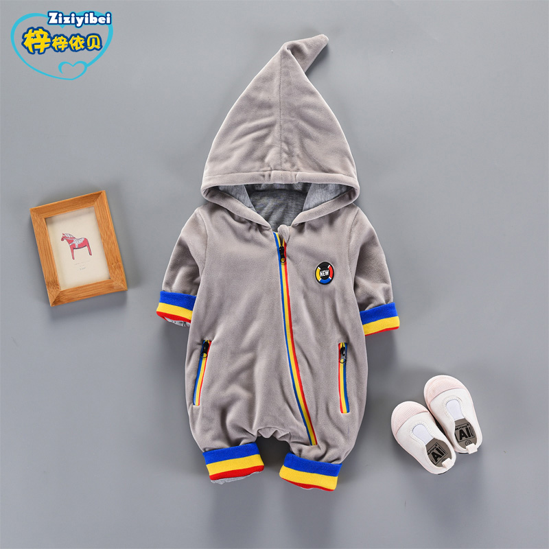ZIZIYIBEI NEW Baby Rompers Winter Thin Warm Baby boy Clothing Long Sleeve Hooded Jumpsuit Kids Newborn Outwear for 0-2Y L593 new baby rompers winter thick warm baby boy clothing long sleeve hooded jumpsuit kids newborn outwear for 0 12m