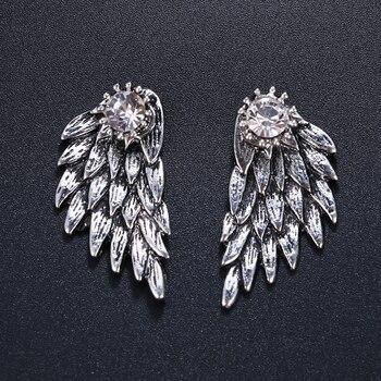 700b1392da7c Emmaya encanto ángulo alas moda Zircon mujeres pendientes señoras pendientes  oro y pistola negro chica temperamento pendientes partido regalo