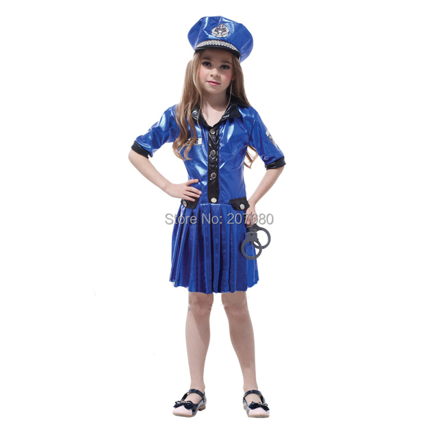 Super cool police girl cosplay costume halloween party for Cool halloween costumes for kids girls