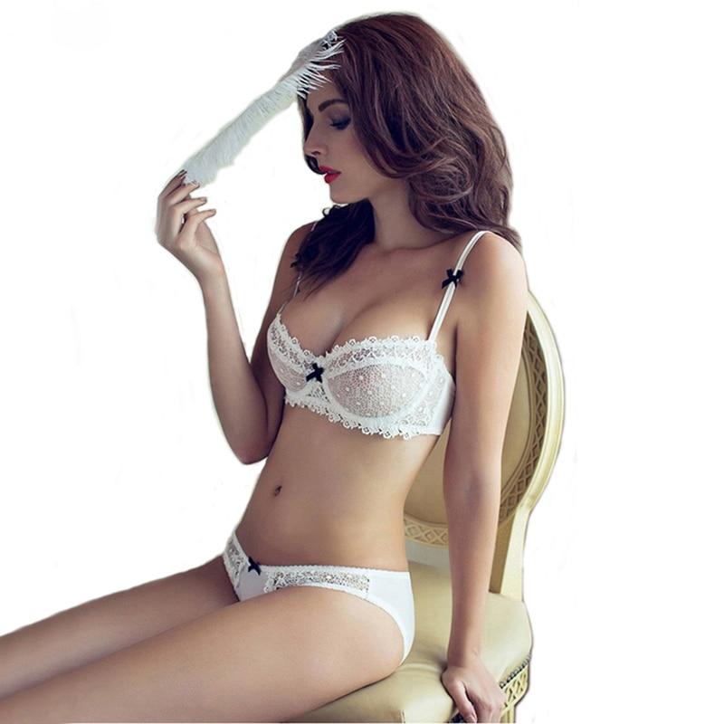 セクシーなムースABCDカップセクシーな女性のブラジャーの下着セット透明レース刺繍胸プッシュアップブラセット深いVネック