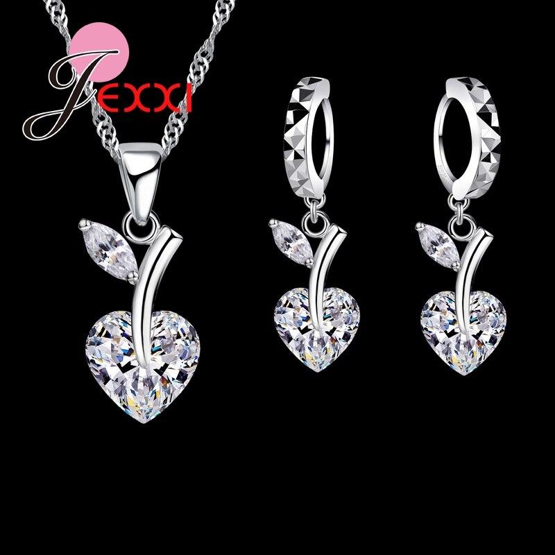 Women Romantic Crystal Heart Jewelry Set 925 Sterling Silver Cherry Necklace Earring Wedding Jewelry Set