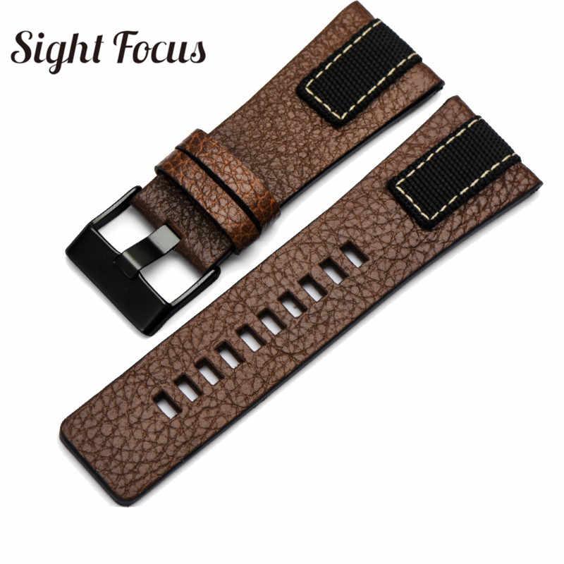 Cowboy scarpe di Tela Denim Cinturino In Pelle per Diesel Cinturino di Vigilanza 26 millimetri ROCCAFORTE Fasce Per DZ4318 DZ4345 DZ4354 Uomo Bracciali Cintura Marrone