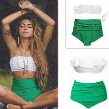 Women Swimsuit Female Separate High Waist Bikini 2019 Mujer Ruffle Swimming Suit Push Up Swimsuit Green White Beachwear Swimwear