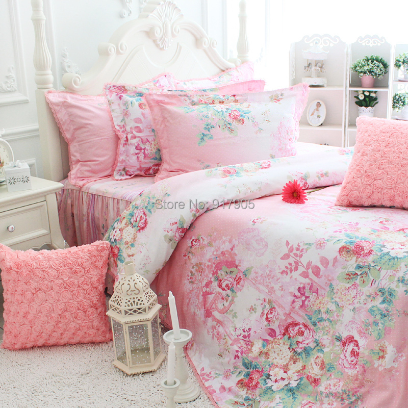 Romantic Pink Rose Print Bedding Sets Elegant Rustic ...