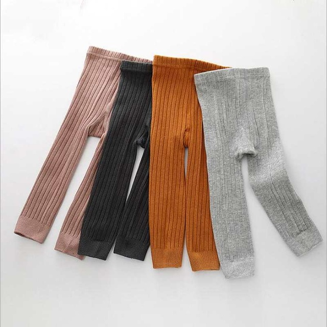 2018 Hot-selling Baby Girl Stretch Leggings Pants Spring and Autumn Toddler Child Knitting Trousers pink color(China)