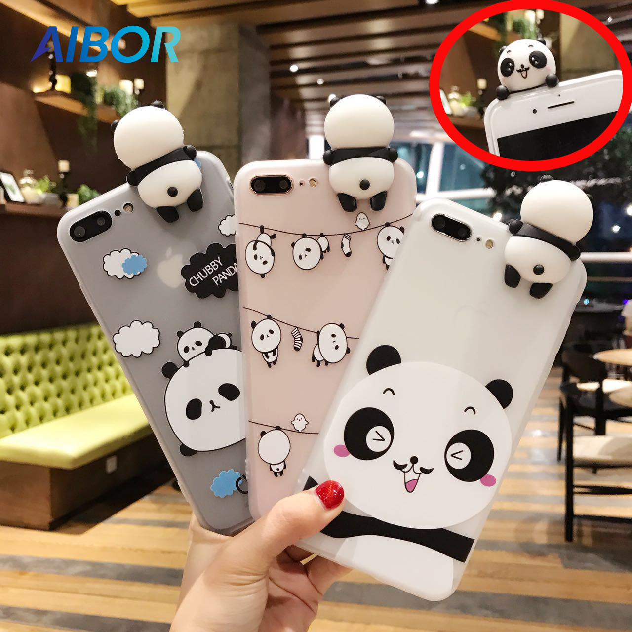 3D Cute China Panda Cases For iphone X  XS MAX XR 5 5s SE 7 7 8 6 6s Plus Case Lovely Toy Panda Cover Transparent For iphone 7 8 iPhone