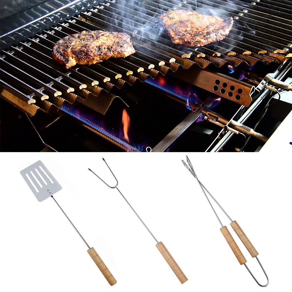Hot Sale BBQ Accessories 3Pcs/Set Stainless Steel Barbecue Tools Clip Fork Spatula Outdoor Camping Portable Roasting Grill Tools