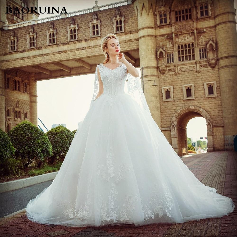 Classic Wedding Gowns 2018: Real Bride Sexy V Neck Vintage Rhinestone Wedding Dress