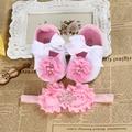 2016Baby Flowery Rhinestone/pearl Booties shoes girl headband set,Rosette baby walker girls Crown shoe sapato bebe