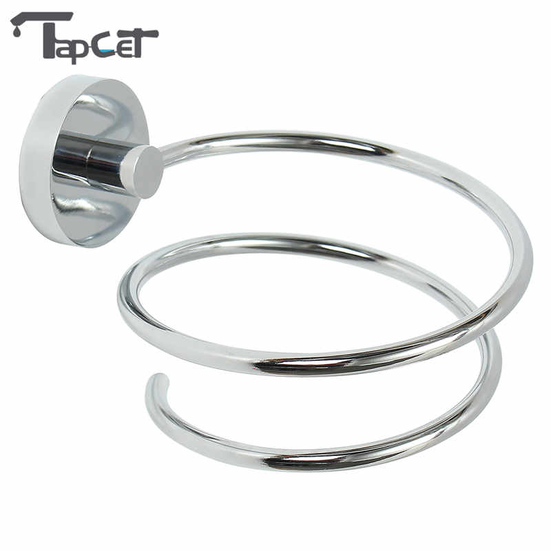 TAPCET Chrome Finish Wall Mounted Hair Dryer Stand Hotel Bathroom Barbershop Shelves Shelf Storage Hairdryer Rack Holder Hanger jieshalang antique copper hair dryer rack bathroom shelf hair dryer stand wall hanging holder hairdryer bathroom shelves 6835