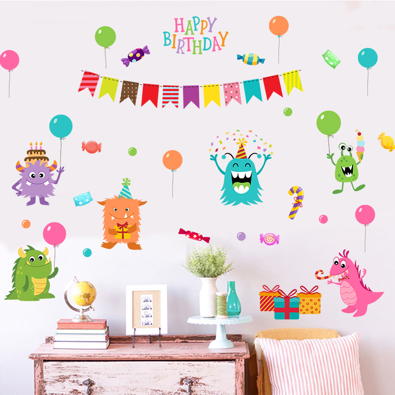 Fundecor Removable Monster Candy Birthday Wall Stickers For Kids