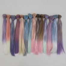 Fashion Ombre Color 25*100cm Straight DIY Mini Tresses Doll Wig High-Temperature Material Hair For BJD Accessories