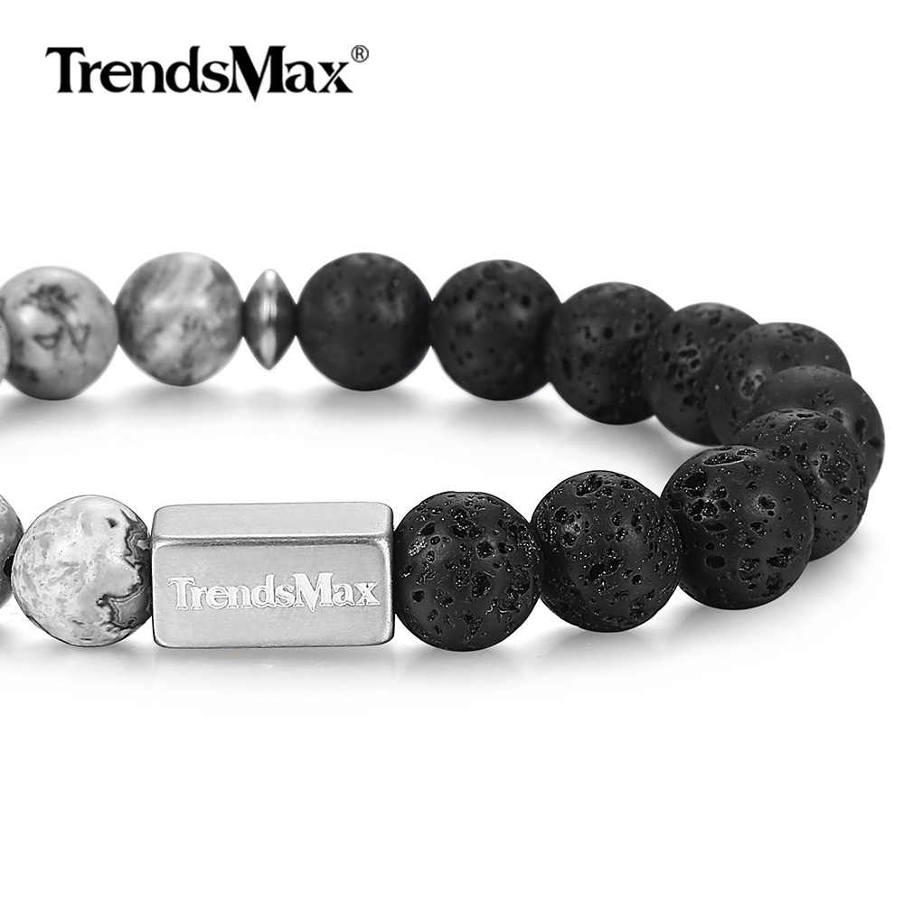 Natural Lava Stone Bracelet Stretch Stainless Steel Chain for Mens Womens Wristband Chakra Energy Gift Jasper Gemstone TBB01401