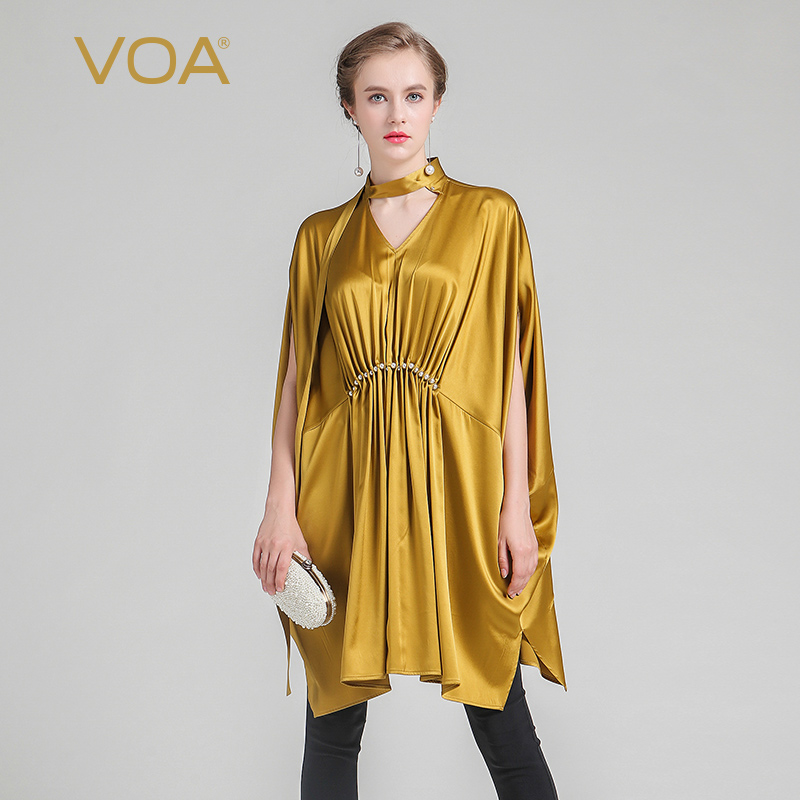 VOA 2018 letní hedvábí zlatý egyptské tričko královny módní pohodlí výstřih plus velikost bat rukáv studená dlouhé ženy topy BST00501