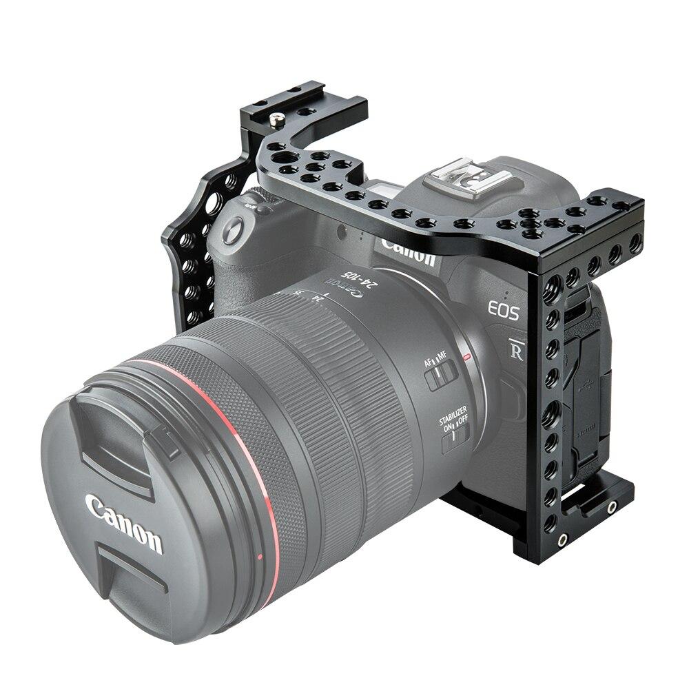 Film vidéo en aluminium de Cage de caméra faisant le stabilisateur de plate-forme pour le Canon EOS R avec le support froid de chaussure pour le moniteur magique de Microphone de bras - 2