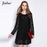 Jielur 2018 Autumn New Fashion Red Black Lace Dress Female Loose Plus Size Elegant Lady Dresses for Women O neck Sexy Vestidos