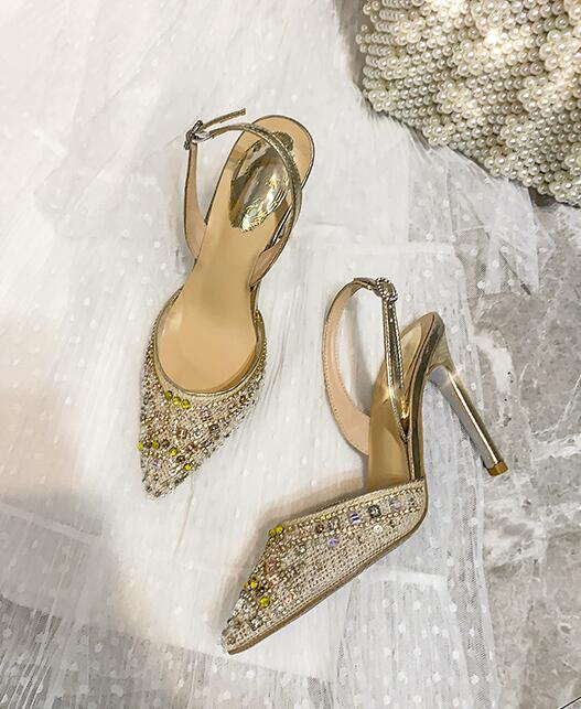 Fashion Pointed toe Buckle Strap Shoes For Woman In Crystal Embellished Bling Bling Pattern Sandals High Heel For PartyFashion Pointed toe Buckle Strap Shoes For Woman In Crystal Embellished Bling Bling Pattern Sandals High Heel For Party