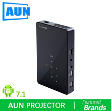 Brand AUN Android 7.1 Smart Projector(Optional 2G+16G Memory) with WIFI, Bluetooth MINI Video Projector (Optional D5 white). D5S