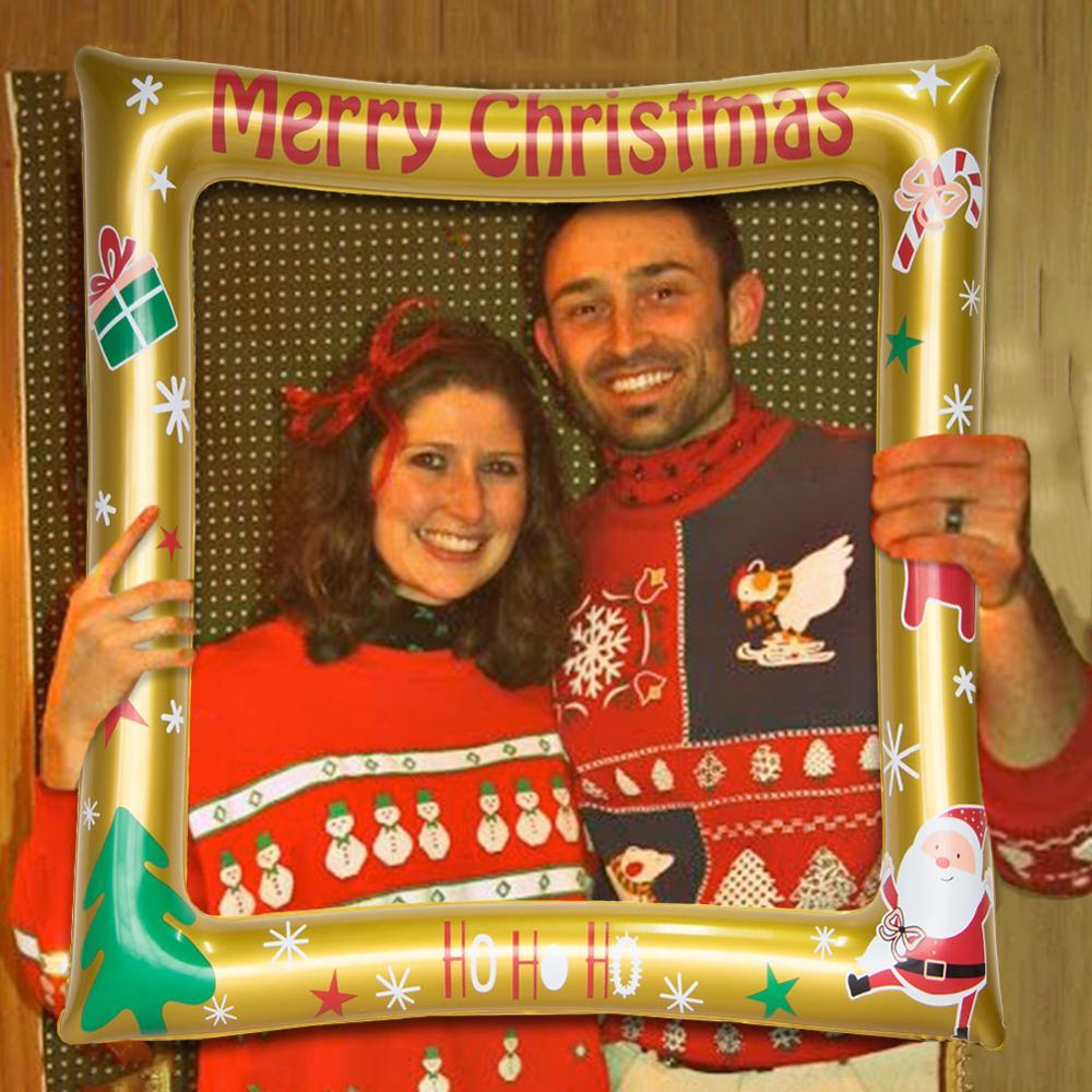 Fun Christmas Inflatable Photo Booth Frame Festive Props Holiday Reunion Party Decorations Merry Xmas Santa Ho Ho Ho Selfie