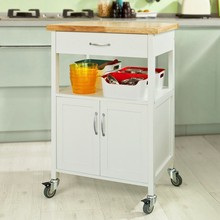 SoBuy FKW22-WN Kitchen Storage Trolley Cart with Doors and Drawer Cabinet on Wheels