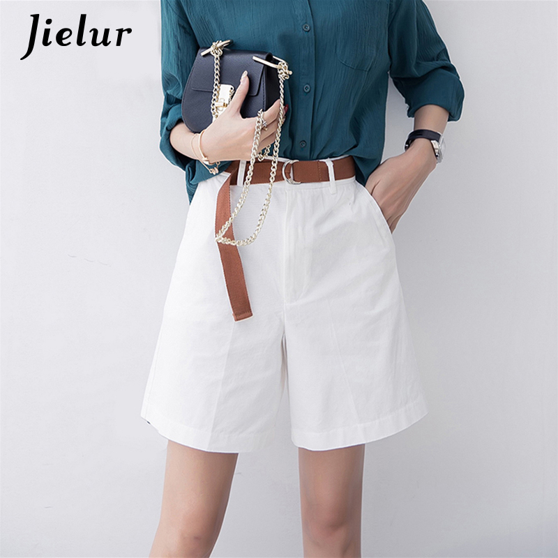 Jielur Fashion Summer Casual   Shorts   Women Leisure Loose Wide Leg Pantalon Femme Belt Green White   Shorts   Female Pure Color S-XXL
