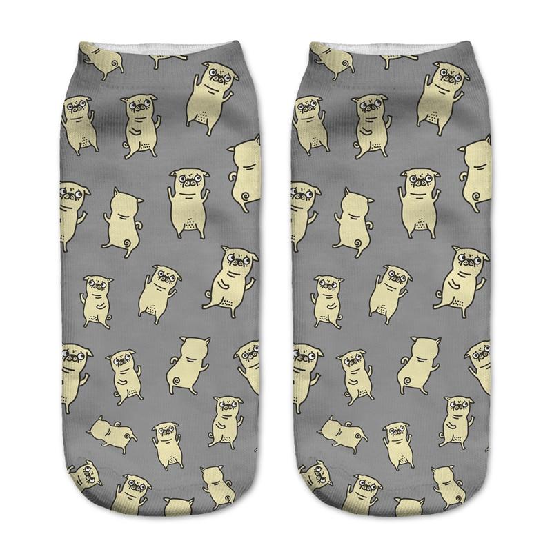 socks women low cut animals 3D printed pugs dance dog funny new chaussette femme harajuku kawaii ankle socks calzini