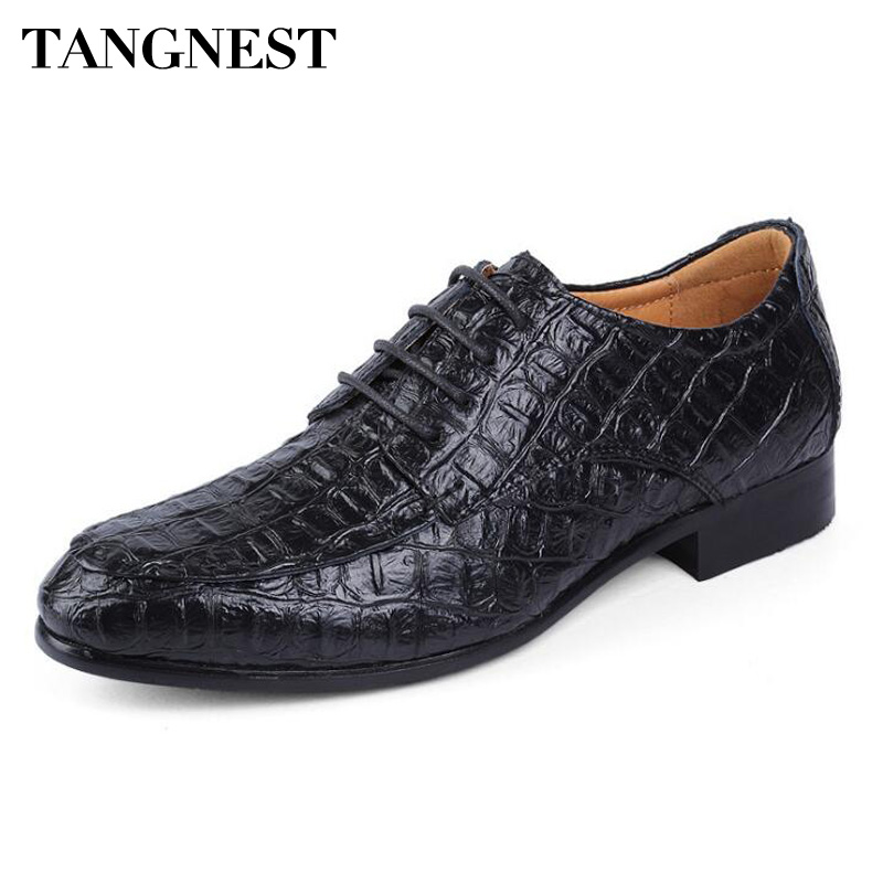 Tangnest Autumn Genuine Leather Dress Shoes Man Fashion Crocodile Pattern Oxfords Man Business Wedge Shoes Size 38~50 XMP814