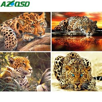 AZQSD 5D DIY obraz zwierzęcia haft diamentowy pełna kwadratowa mozaika diamentowa z haftu krzyżykowego na drelichu lamparta ozdoba do domu z haftem diamentowym