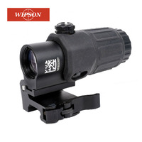WIPSON Airsoft 3X Magnifier with Switch to Side Quick Detachable QD Mount for hunting black sand and red color
