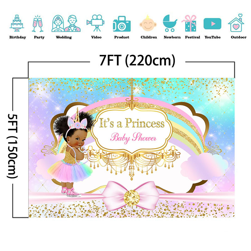 Unicorn Princess Baby Shower Photography Backdrop Rainbow Glitter Gold Diamonds Background Pink Bow Girl Baby Shower Backdrops in Background from Consumer Electronics