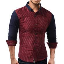 Fashion Mens Shirts Polka Dots Long Sleeve Male Shirt Casual Tops Formal Shirts Clothing 2017 Autumn 1104