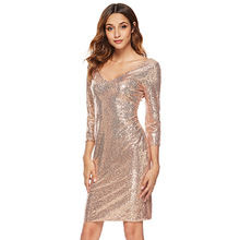 MUXU gold sequin dress Sexy Deep V Lead Seven Part Sleeve Paillette Dress bodycon backless women clothing kleider fashion