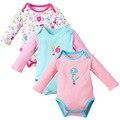 3 PÇS/LOTE impressão menina Roupas de Manga Comprida Macacão de bebê de Algodão Do Bebê Recém-nascido do bebê Meninos Roupas bebes infantil trajes