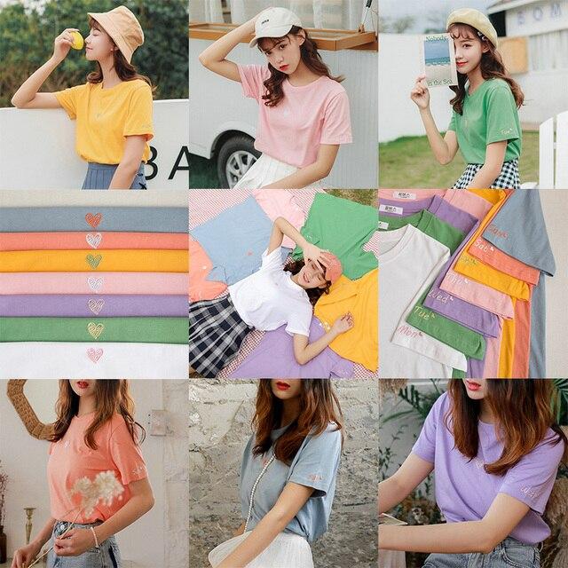 Bts harajuku encabeça as mulheres roupas de verão 2019 estilo coreano moda doce amor do vintage bordado carta coração amigos camisas das mulheres
