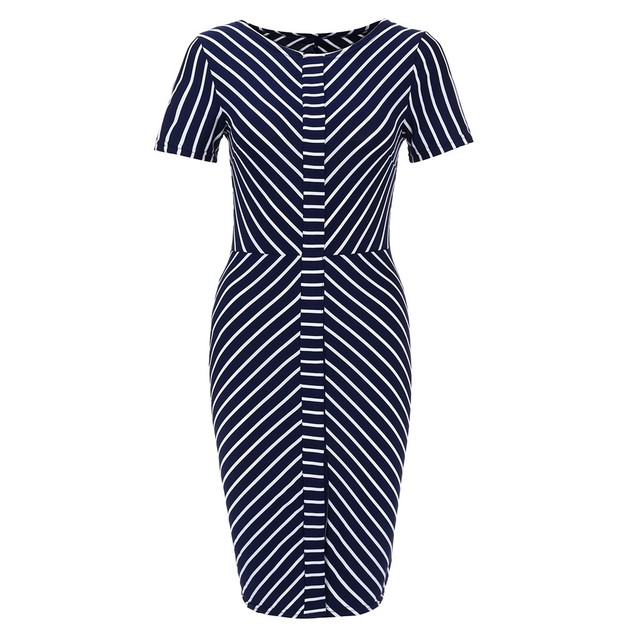 Office Lady Workwear Striped Straight Slim Short Sleeve Elegant Dress Summer Outdoor Casual Daily Dress Belt Elegant Work Dress