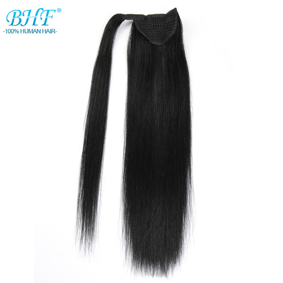 BHF Straight Ponytail Human Hair All Colors European Remy Human Hair Ponytail Extensions Tail of Human Hair Natural Ponytails ...