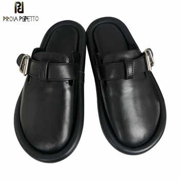 Prova Perfetto Brand Design Genuine Leather Slippers Women Round Toe Flat Shoes Woman Fashion Buckle Mules Shoes Leisure Shoes - DISCOUNT ITEM  44% OFF All Category