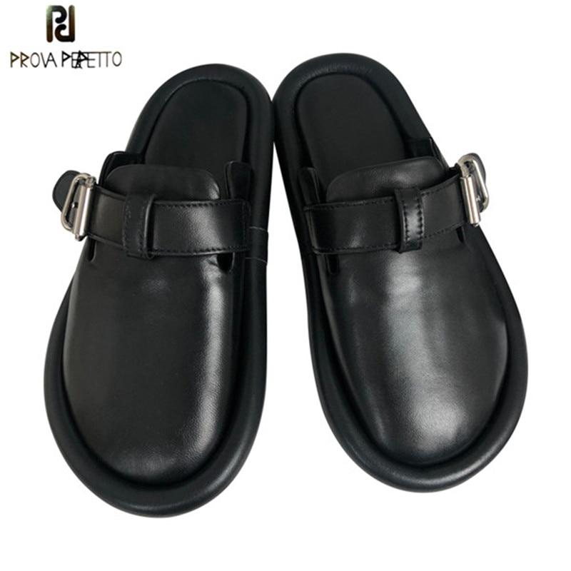 Zapatillas de cuero genuino con diseño de marca Prova Perfetto para mujer zapatos planos de punta redonda con hebilla para mujer zapatos de ocio-in Zapatillas from zapatos    1
