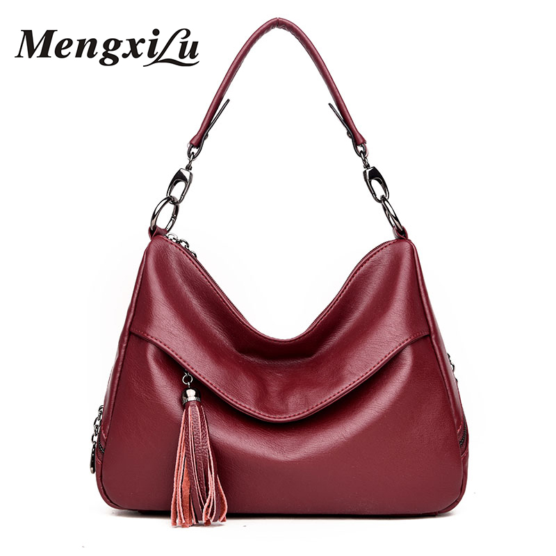 MENGXILU Brand Designer Tassel PU Leather Handbags For Women Shoulder Bags Large Capacity Casual Tote Bags Soft Women Bag 2018