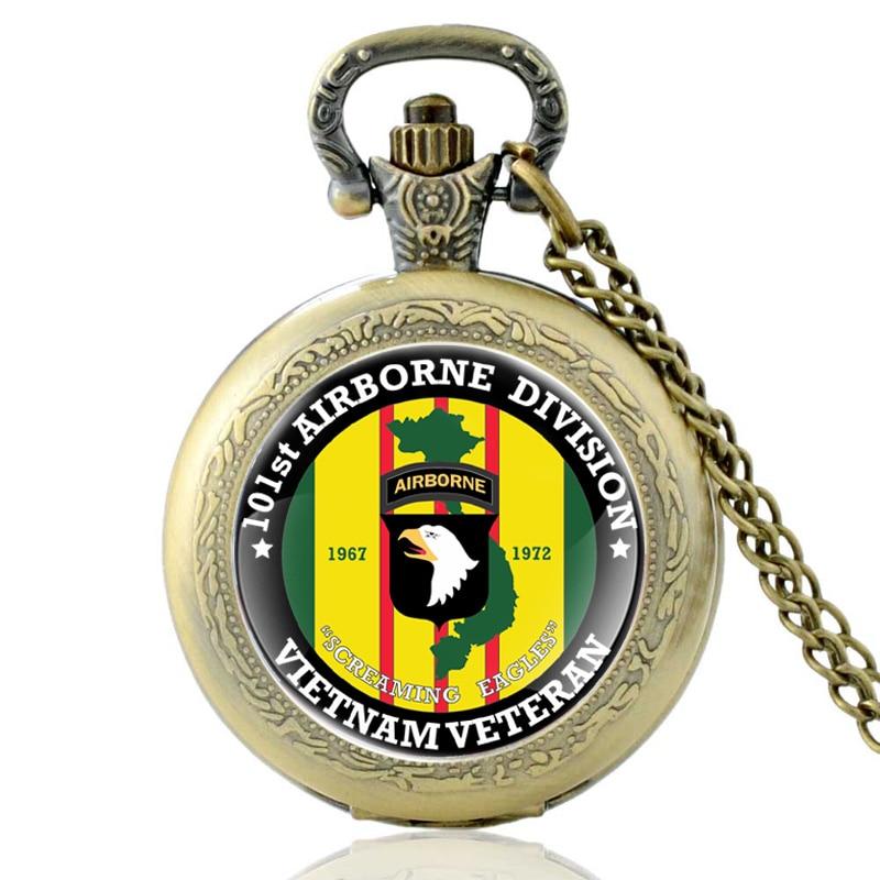 Antique Bronze United States Vietnam Veteran Quartz Pocket Watch Classic 101st Airborne Division Pendant Necklace Watches