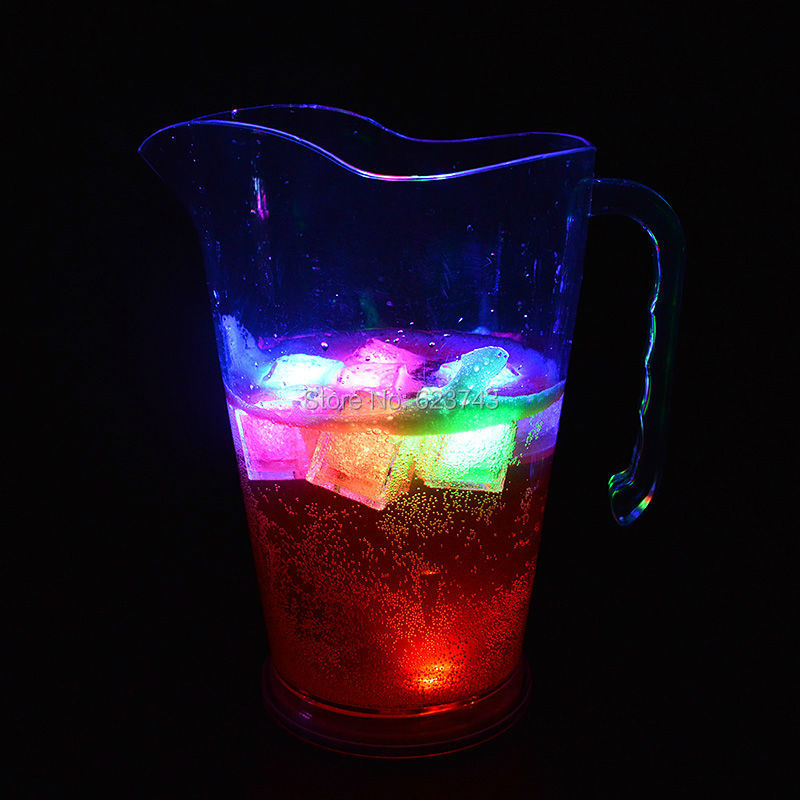 10Pcs/Lot Colorful LED Acrylic Beer Jar Ice Bucket ,nightclubs Glowing Beer Mug Flash LED Light Tankard Champagne Wine Cooler