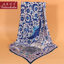 100% Silk Square Scarf Female Blue And White Porcelain Pattern Silkworm Woman Scarves Shawls 90*90 F605