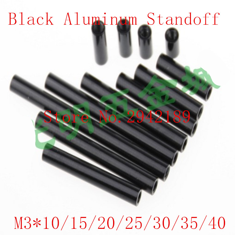 10pcs/lot free shipping 3mm aluminum spacer  m3*10/15/20/25/30/35/37/40 black anodizing aluminum round standoff spacer long nut free shipping 50pcs lot m3 5 0x35mm aluminum standoff spacer for dslr drone