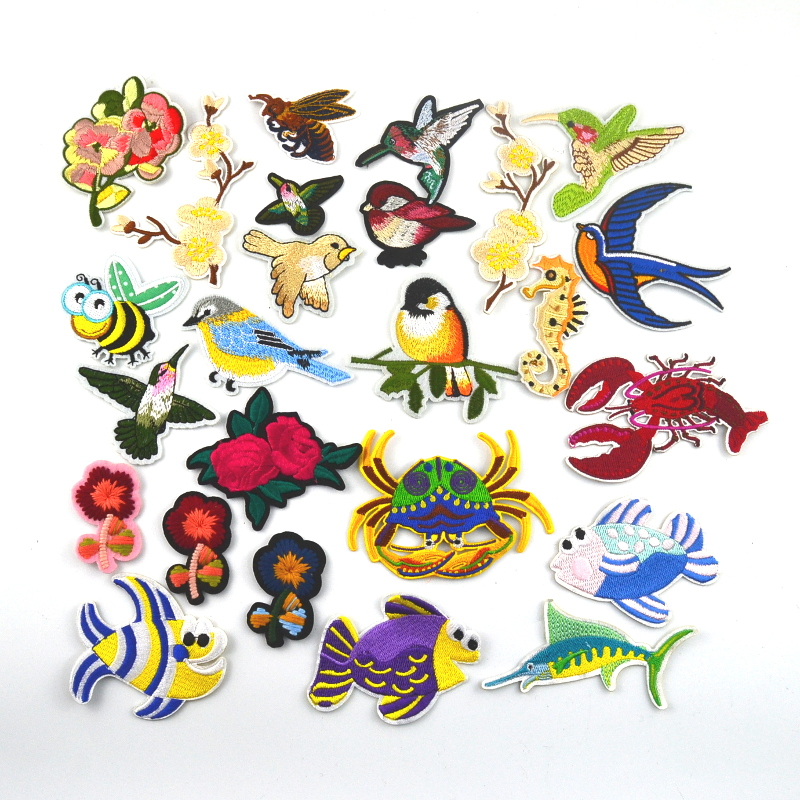 10PcsLot Fashion Birds Fish Flowers Patch Thread Embroidery Sew On Patches For Children Clothes Dresses DIY Accessory DN326