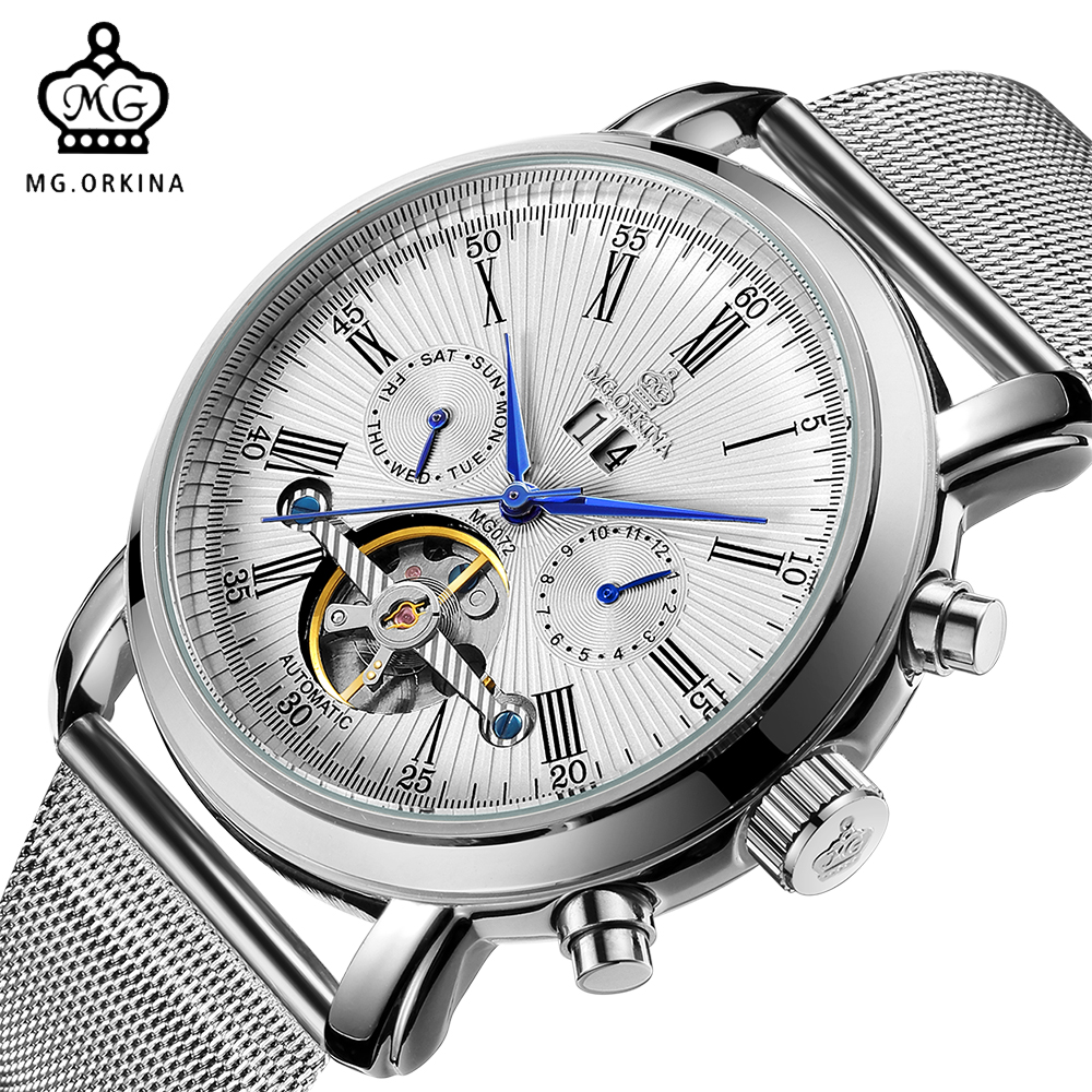 ORKINA Male Clock Auto Date Mens Watches Top Brand Luxury Mechanical Wristwatch Automatic Relogio Masculino erkek kol saati forsining full calendar tourbillon auto mechanical mens watches top brand luxury wrist watch men erkek kol saati montre homme